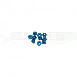 Ecrous épaulé 3mm Bleu (x10)
