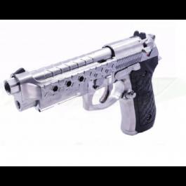 Réplique de poing GBB M92 Hex cut silver gaz full metal