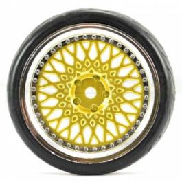 Fastrax roues montées collées piste/drift doré et chrome