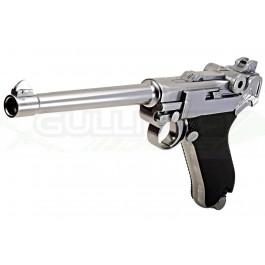 """Réplique de poing GBB P08 Medium 6"""" Silver gaz HOPUP"""