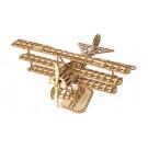 Puzzle mécanique bois Avion Triplan